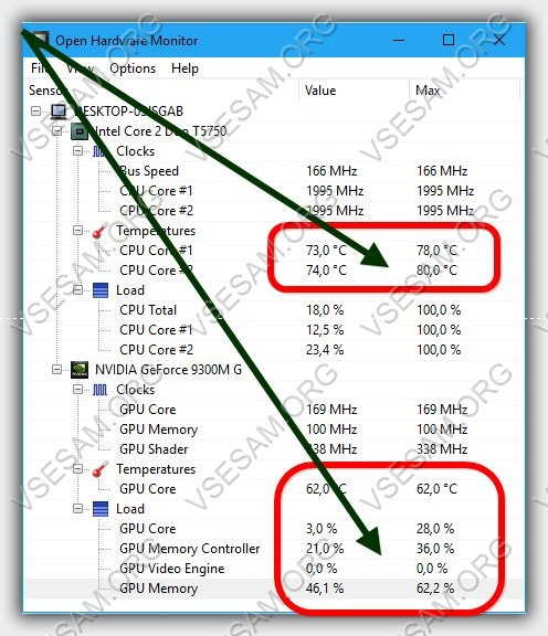 следить за температурой процессора и видеокарты в программе Open Hardware Monitor