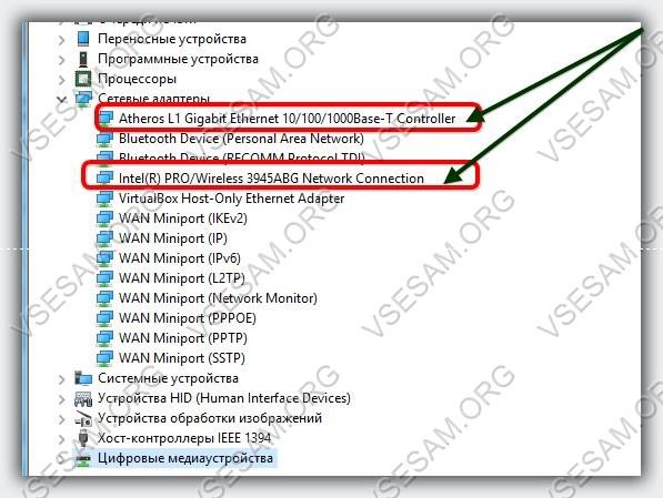 сетевые адаптеры в диспетчере устройств windows 10