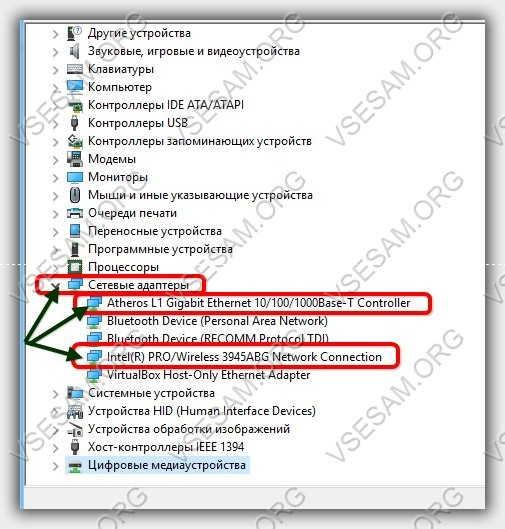 сетевые адаптеры в диспетчере устройств windows 7