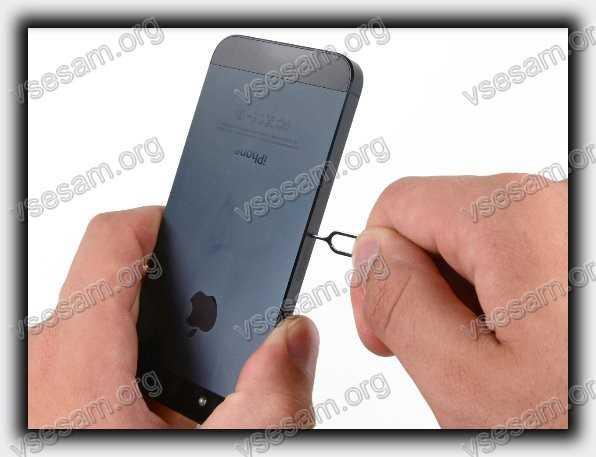 открыть ключиком слот для сим карты на айфон 5