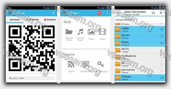 перекинуть фото с андроида на андроид приложением SuperBeam