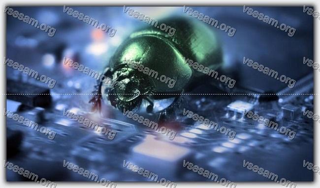 вирус-жук на клавиатуре