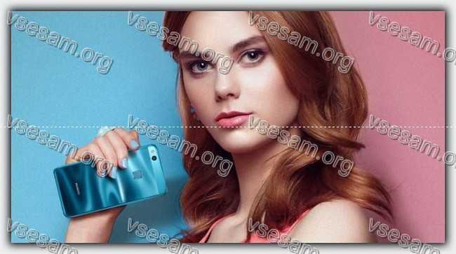 девушка с смартфоном huawei honor