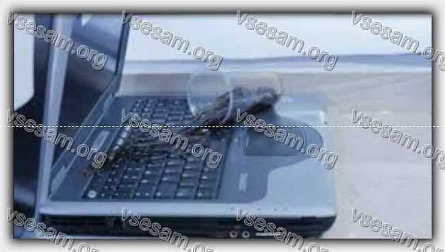залил соком ноутбук asus - погас экран