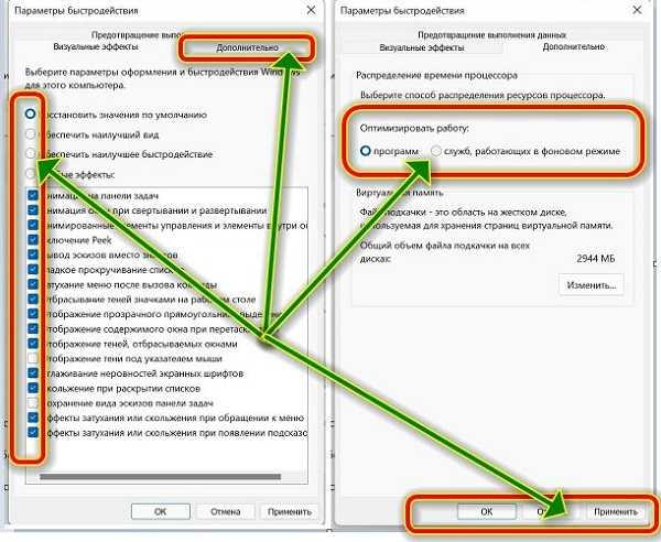 оптимизировать службы и эффекты виндовс 11